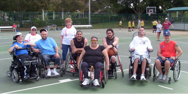 Group photo on basketball court